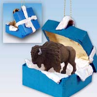 Buffalo Gift Box Blue Ornament
