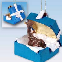 Giraffe Gift Box Blue Ornament