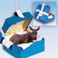 Moose Cow Gift Box Blue Ornament