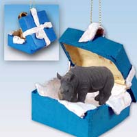 Rhinoceros Gift Box Blue Ornament