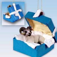 Dahl Sheep Gift Box Blue Ornament