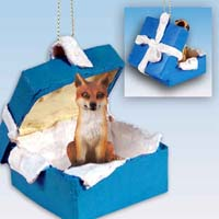 Fox Red Gift Box Blue Ornament