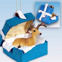 Deer Buck Gift Box Blue Ornament