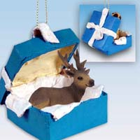 Elk Bull Gift Box Blue Ornament