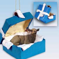 Elk Cow Gift Box Blue Ornament