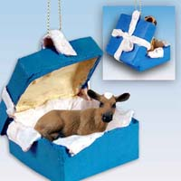 Guernsey Cow Gift Box Blue Ornament