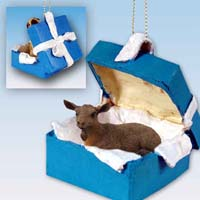 Goat Brown Gift Box Blue Ornament
