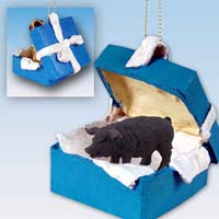 Pig Black Gift Box Blue Ornament