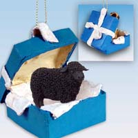 Sheep Black Gift Box Blue Ornament