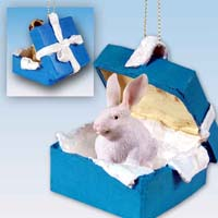Rabbit White Gift Box Blue Ornament
