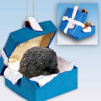 Porcupine Gift Box Blue Ornament