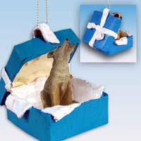 Coyote Gift Box Blue Ornament