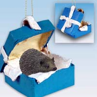 Hedgehog Gift Box Blue Ornament