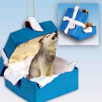 Wolf Timber Gift Box Blue Ornament