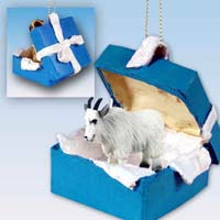 Mountain Goat Gift Box Blue Ornament