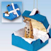 Cheetah Gift Box Blue Ornament