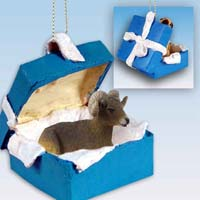 Big Horn Sheep Gift Box Blue Ornament