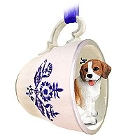 Ornaments Tea Cup Blue Dogs