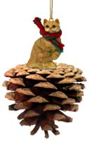 Red Shorthaired Tabby Cat Pinecone Pet Ornament