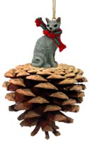 Blue Cornish Rex Pinecone Pet Ornament