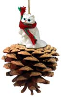 White Persian Pinecone Pet Ornament