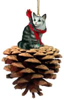 Silver Tabby Maine Coon Cat Pinecone Pet Ornament