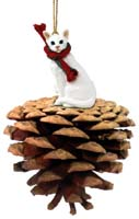 White Oriental Shorthaired Pinecone Pet Ornament