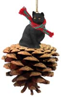 Black Shorthaired Tabby Cat Pinecone Pet Ornament