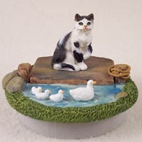Black & White Shorthaired Tabby Candle Topper Tiny One