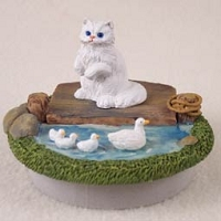 White Persian Candle Topper Tiny One