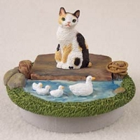 Tortoise & White Japanese Bobtail Candle Topper Tiny One