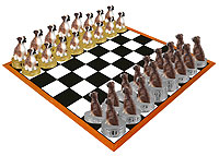 Boxer Brindle Uncropped Chess Set (Pieces Only)