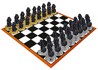 Poodle Black w/Sport Cut Chess Set (Pieces Only)