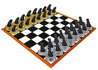 Labrador Retriever Black Chess Set (Pieces Only)