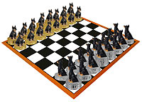 Doberman Pinscher Black w/Cropped Ears Chess Set (Pieces Only)