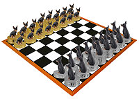 Miniature Pinscher Tan & Black Chess Set (Pieces Only)