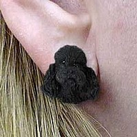 Poodle Black w/Sport Cut Earrings Post