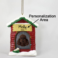 Poodle Chocolate w/Sport Cut House Ornament (Personalize-It-Yourself)