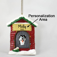 Husky Black & White w/Blue Eyes House Ornament (Personalize-It-Yourself)