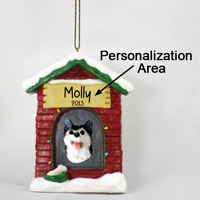 Husky Black & White w/Brown Eyes House Ornament (Personalize-It-Yourself)