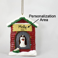 Springer Spaniel Liver & White House Ornament (Personalize-It-Yourself)