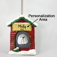 Old English Sheepdog House Ornament (Personalize-It-Yourself)
