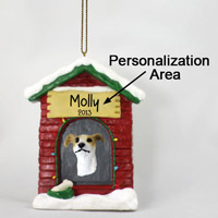 Greyhound Tan & White House Ornament (Personalize-It-Yourself)