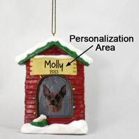 Miniature Pinscher Red & Brown House Ornament (Personalize-It-Yourself)