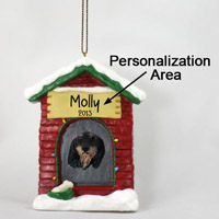 Dachshund Black Longhaired House Ornament (Personalize-It-Yourself)
