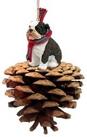 Bulldog Brindle Pinecone Pet Ornament