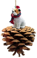 Bulldog White Pinecone Pet Ornament