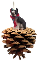 Boston Terrier Pinecone Pet Ornament
