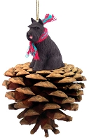 Schnauzer Black Pinecone Pet Ornament