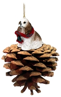 Cocker Spaniel Brown White Pinecone Pet Ornament